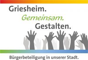 Logo der Bürgerbeteiligung der Stadt Griesheim. Slogan im Bild: Griesheim.Gemeinsam.Gestalten. Bürgerbeteiligung in unserer Stadt.