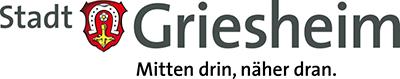 """Logo der Stadt Griesheim mit dem Slogan """"Mitten drin, näher dran."""""""